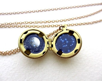 Miniature Oil Painting, Orion Constellation Locket, Tiny Stars Necklace