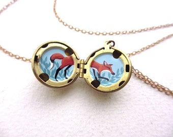 Tiny Fox Locket, Oil Painting Locket Necklace, Mini Spirit Animal