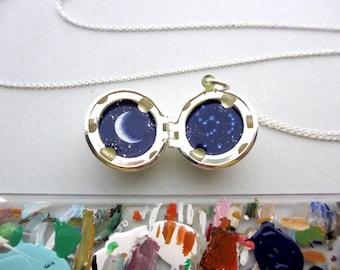 Orion Constellation Locket, Miniature Original Oil Painting, Silver-Plated Pendant