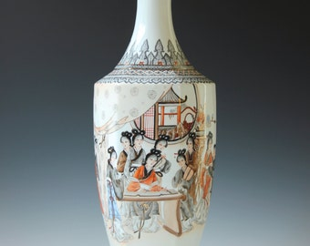 """20 4/8"""" Tall beautiful Chinese eggshell porcelain Famille Rose vase - Calligraphy, poem, marked - 20th Century"""