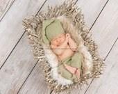 Baby Long Pants, & Hat, Knotted Elf Hat, Newborn Photo Props  U Choose Color Size