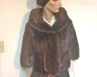 Sable Fur Cape Coat Vintage 50s Size 10 to 12