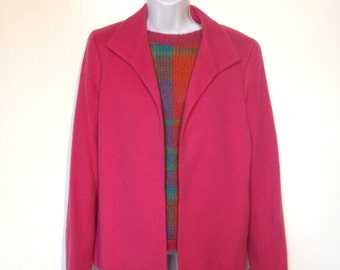Pink Wool Jacket Blazer 80s Size 6 by Barry Bricken