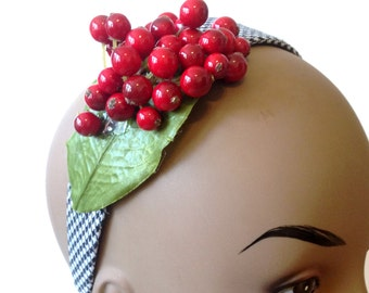Cherry Headband, Rockabilly headband, Black, White, & Red Headpiece