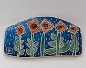RESERVED for ANNE till 7-24 rain garden hand carved ceramic art tile