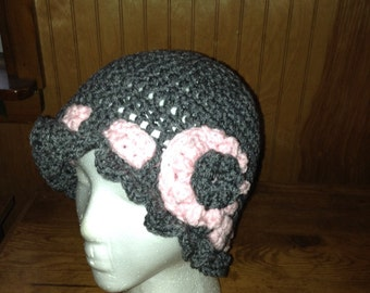 Gray and pink crochet beanie hat