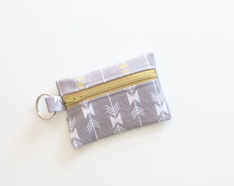 Small Zipper Pouch, Ear Bud Holder, Credit Card Case, Four Corners Sparkle Strip Grey