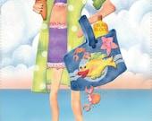Fabric Art Panel - Beach Babe CHARITY