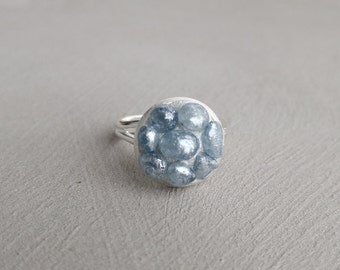 Pebble Ring, Blue Bead Silver Stacking Statement Adjustable Ring, Blue Pebble Bead Ring, Silver Pebble Ring, Silver Beaded Ring