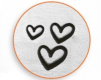 3 PACK OF HEARTS ImpressArt 1.5mm, 2mm, 3mm Metal Stamp Set of 3