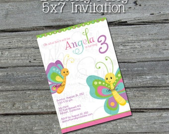 Butterfly Birthday Party Invitation - butterflies- printable party - Digital