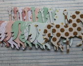 8 Carousel HORSES peach, mint, gold chipboard covered die cuts 4 inches  x 3 3/8 inches