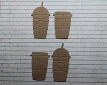 4 Tim Holtz Coffee to go cup 2 of each style mini size Bare chipboard die cuts