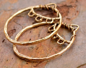 Bohemian Earring Findings, Gold Bronze Earring Hoops, 305