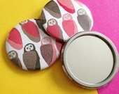 Owl Patterned Pocket Mirror