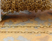 1 ft. Small Etched Cable 3x1.5mm Chain Antique Gold