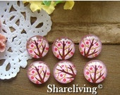 20% OFF SALE - Glass Cabochon, 8mm 10mm 12mm 14mm 16mm 20mm 25mm 30mm Round Handmade photo glass Cabochons  (Tree) -- BCH112B