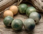 SALE - CERAMIC PAIRS- Handmade Round Ceramic Beads
