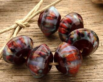 MERLOT  - Handmade Lampwork Bicone Beads - Earring Pairs - 6 Beads