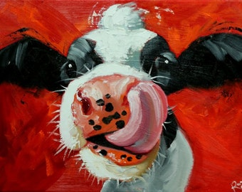 Cow painting 1126 12x16 inch original animal portrait oil painting by Roz