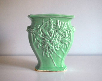 1940s McCoy Chrysanthemum Vase Vintage Art Pottery Turquoise Green Large Ceramic Cottage Chic Decor Embossed Flowers Retro Collectible