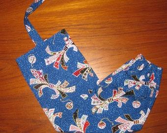 Grocery Store Plastic Bag Dispenser Japanese Fabric Noshi Ribbons Design Blue