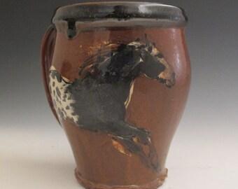Extra Large mug with slip trailed appaloosa horses