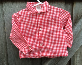 Red Gingham Baby Shirt 9-12 Months
