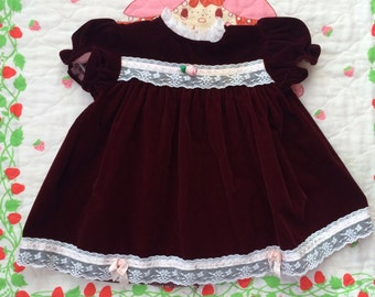 Burgundy Baby Dress 6/9 Months