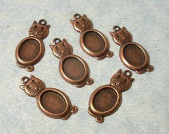 6 Ox Copper Cat Charms with 8mm x 10mm Cabochon Settings