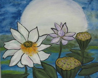 Full Moon and Lotus - Original painting - 20 x 20 inches - by Kate Ladd