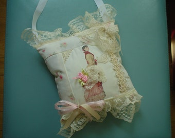 VICTORIAN ROMANTIC  Lady Image Hand Made Rose, off white lace, bows KEEPSAKE Lavender Pillow sachets