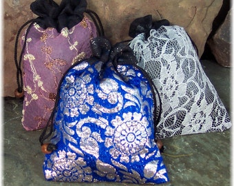 Lavender Sachets in Recycled Silk Sari Pouches, Lavender Closet Freshener, Lingerie Sachet, Set of 3