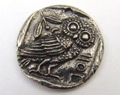 Owl pendant, Green Girl Studios charm, round flat lead free pewter, Greek coin inspired 26mm