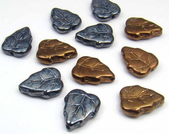 Metallic glass leaf beads, vintage German 15mm, 11 pcs