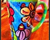 whimsical ceramic  hand painted pop whimsical flower ladybug  mug love maggie brudos tangerine studio