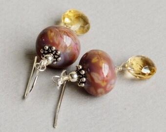 Harvest Earrings - Lampwork Earrings - Citrine Earrings - Golden Earrings - Fall Earrings - Sterling Silver Earrings