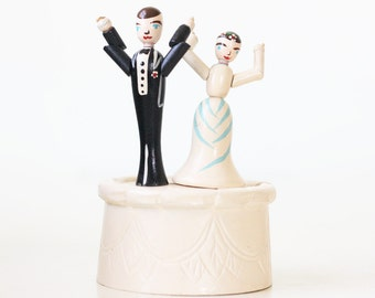 Vintage Wedding Cake Topper, Push Button Puppets, Bride and Groom