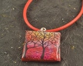 """TREE Of Life Resin Wood Pendant Red Neck Cord Colorful Vibrant 1"""" Square"""