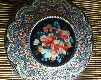 Made in Holland old round tin mosaic 8 by 2 1/2""