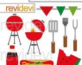 80% OFF SALE Barbecue party clipart - Barbecue clip art - summer BBQ clipart - grill, hotdog, watermelon - instant download