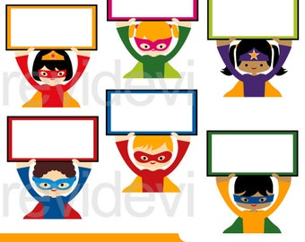 Superhero holding signs clipart - Superhero clip art digitals - digital images, instant download
