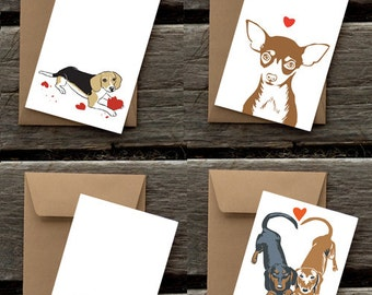 Puppy Love Assortment of 8 Blank flat notecards and envelopes