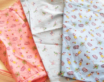 Quilting Love...3 Cute Vintage Novelty Print Fabric Pieces