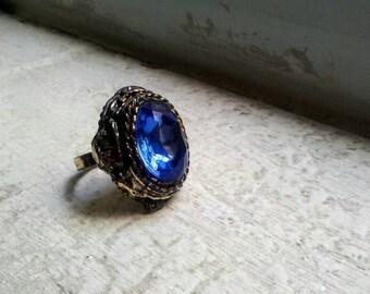 Vintage Sapphire Blue Rhinestone Ring
