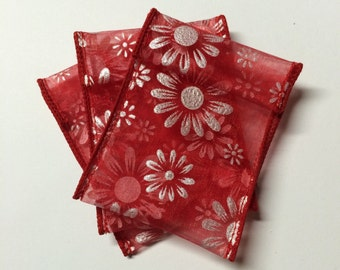 Jewelry Bead Pouches - 14 Red Silver Daisy - Ribbon