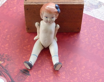 """Vintage bisque porcelain doll arms and legs wire jointed  """"Made in Japan"""