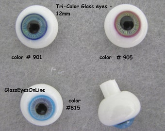 1 PAIR Glass Doll Eyes 12mm Triple Colors for Dolls, Fairy, Ooak, Sculptures, Bisque, Polymer Clay, Sculpture,  ( TCDE )