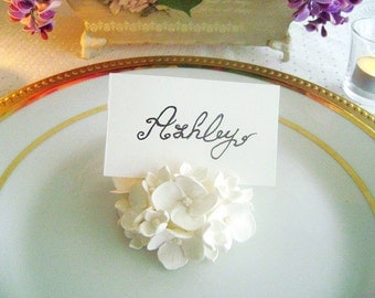 Wedding White Hydrangea Place Card Holder Wedding Favor Flower Place Card Escort Card Wedding Decor Set of 10 Made to Order