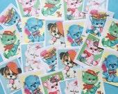 Cute Kitten Stickers - Set of 24 - Handmade Stickers, Vintage Style, Vintage Kittens, Vintage Puppies, Journal, Planner Stickers, Cute Pets